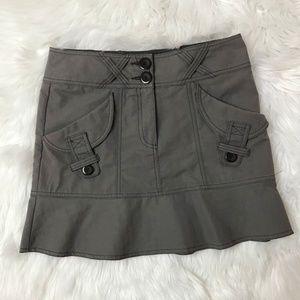 Nanette Lepore Black Gray Skirt Cargo Flare Cotton